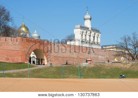 VELIKIY NOVGOROD, RUSSIA - APRIL 13, 2016: View of the bell tower of St. Sophia from the city beach. Historic landmark of the city Veliky Novgorod