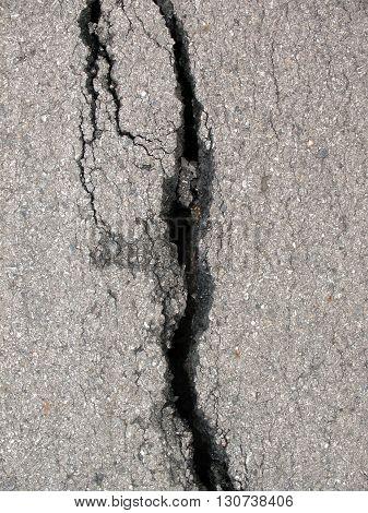 Close up asphalt road surface crack road surface crack