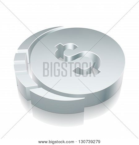 Money icon: 3d metallic Dollar Coin with reflection on White background, EPS 10 vector illustration.