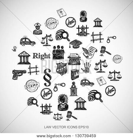 Black doodles flat Hand Drawn Law Icons set In A Circle on White background. EPS10 vector illustration.