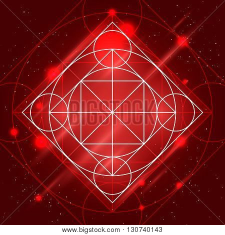Magic geometry sign. Vector alchemy mystical symbol on space background