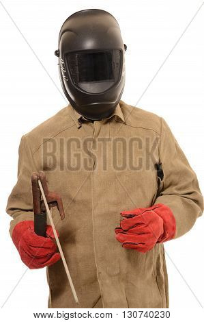 worker welder in a protective mask with on isolated background
