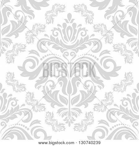 Oriental vector classic pattern. Seamless abstract background with repeating elements. Light silver orient pattern