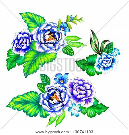 blue and purple mexican flowers. Classic mexican latin style illustration, with vibrant blue roses and green leaves. Set of botanical motifs on white background.
