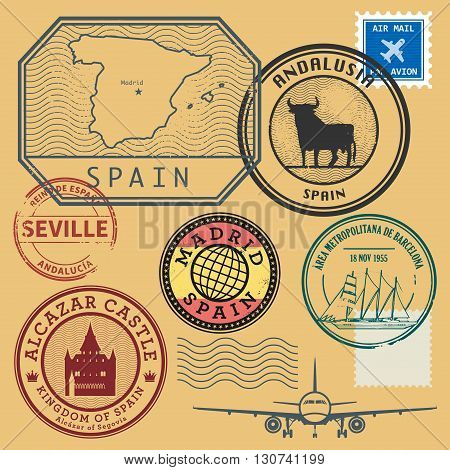 Grunge rubber stamp set with the name and map of Spain, vector illustration