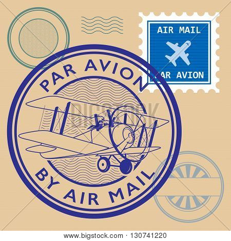 Set of air mail symbols, vector illustration
