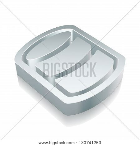 Programming icon: 3d metallic Database with reflection on White background, EPS 10 vector illustration.