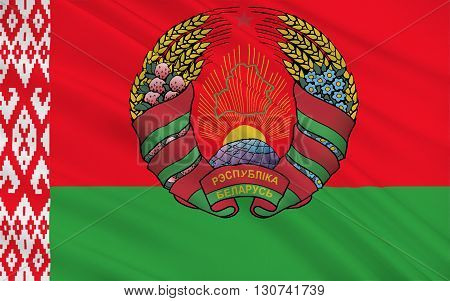 Flag of Belarus officially the Republic of Belarus is a landlocked country in Eastern Europe. Its capital is Minsk, 3D illustration