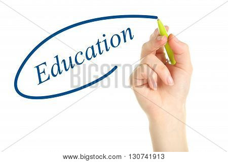 Female hand with pen on white background, education