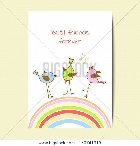 Card design with cute birds on white background. Vector illustration.