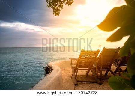 Sunbeds on artificial beach with a beautiful view of the open sea