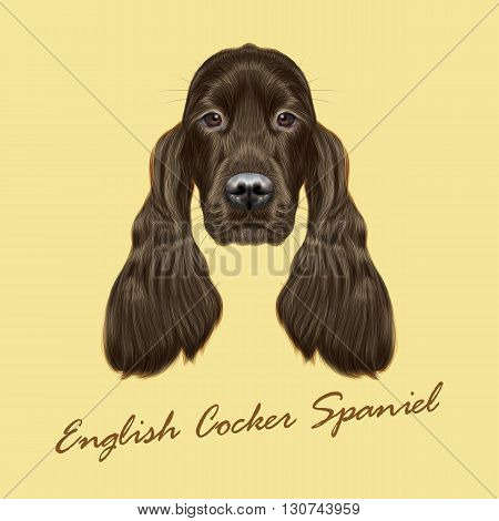 Vector Illustrated portrait of Gordon Setter dog. Cute face of hunting breed of dog on yellow background.