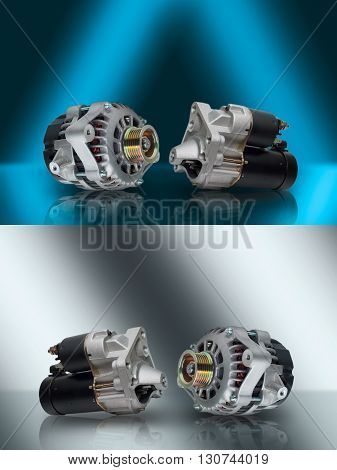 Alternator. Starter. Generator and starter. Car aggregates. Alternator and starter for car. Electrical units for car. Auto parts. Composition of the two electrical parts for the engine.