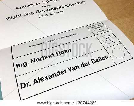 Austria - May 22 2016: a second round for the austrian presidential election 2016 between Norbert Hofer from the Freedom Party Of Austria and Alexander Van der Bellen from Independent Green