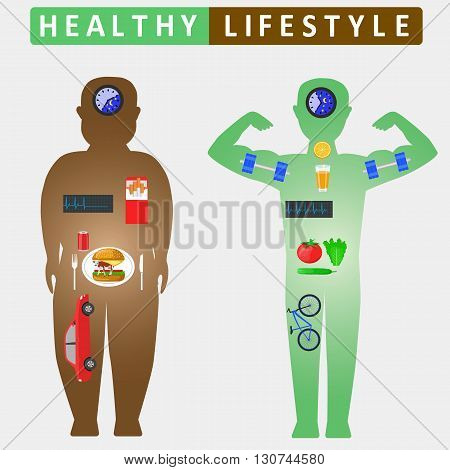 Healthy lifestyle infographics. Compare of fat and slim man silhouettes. Color vector illustration
