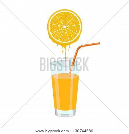 Natural orange juice and orange slice squeezing in glass. Color vector illustration isolated on white background