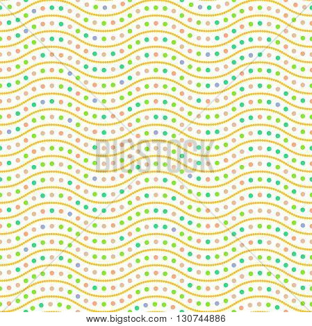 Seamless vector ornament. Modern geometric pattern with repeating colorful dots and wavy lines