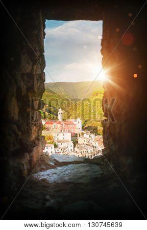 Italy coast landcape - Cinque Terre in sunset rays