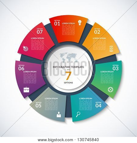 Vector circle template for infographics. Business concept with 7 options, steps, parts, segments. Banner for cycling diagram, round chart, pie chart, business presentation, annual report, web design