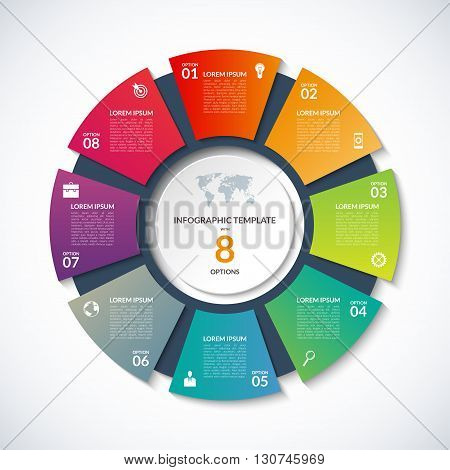 Vector circle template for infographics. Business concept with 8 options, steps, parts, segments. Banner for cycling diagram, round chart, pie chart, business presentation, annual report, web design