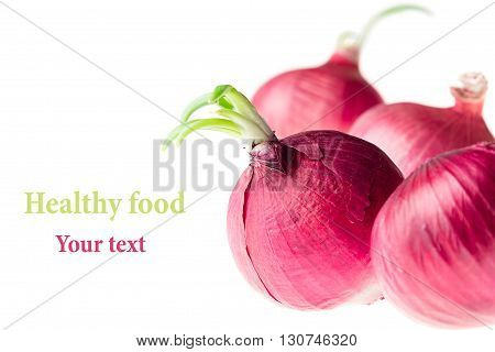 Group raw pink onion on a white background. Several onion unpeeled. Isolated. Food background.