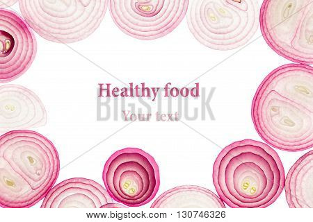 Sliced pink onion. Isolated. Slices. Pattern. Frame with copy space. Food background.