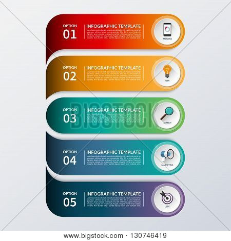 Modern infographic options banner. Business concept with 5 steps, options, parts. Vector background. Can be used for workflow layout, brochure, diagram, chart, number and step up options, web design