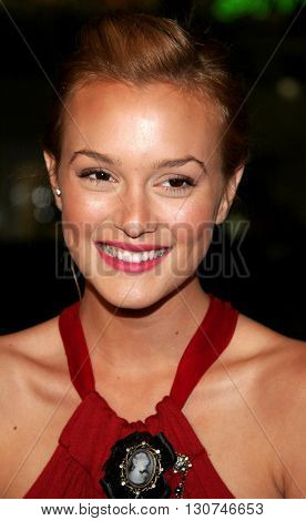 Leighton Meester at the Los Angeles premiere of 'Man of the Year' held at the Grauman's Chinese Theatre in Hollywood, USA October 4, 2006.
