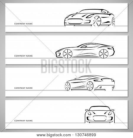 Modern sports car, racing car, sports coupe, luxury car vector silhouettes, outlines, contours, lines isolated on white background. Front, rear and side view.