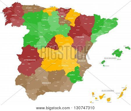 Large and detailed map of Spain and spanish islands