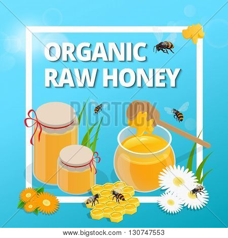 Organic raw honey. Greeting card. Honey natural healthy food production. Bee, flowers, beehive and wax. honey bee vector. Vector illustration EPS10
