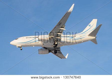 SAINT PETERSBURG, RUSSIA - FEBRUARY 17, 2016: Boeing 737-76N (RA-73004) Gazpromavia before landing in Pulkovo airport