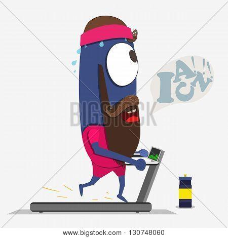 Cool monster running on a treadmill. Sport partner. Vector