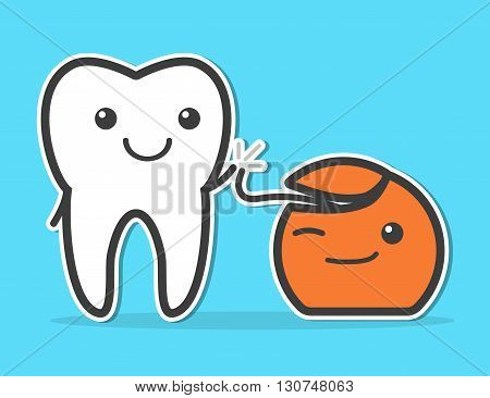 Tooth and dental floss are friends. High five. Dental hygiene concept. Funny vector illustration