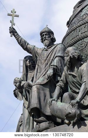 GREAT NOVGOROD, RUSSIA - APRIL 24, 2015: Baptism of Russia. Detail of the monument
