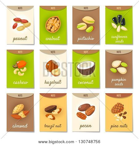 Set of AD-cards, banners, tags, package with cartoon nuts - hazelnut, almond, pistachio, pecan, cashew, brazil nut, walnut, peanut, coconut, pumpkin seeds, sunflower seeds and pine nuts. Vector art.