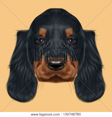 Illustrated Portrait of Gordon Setter dog. Cute black curly face of domestic puppy on yellow background.