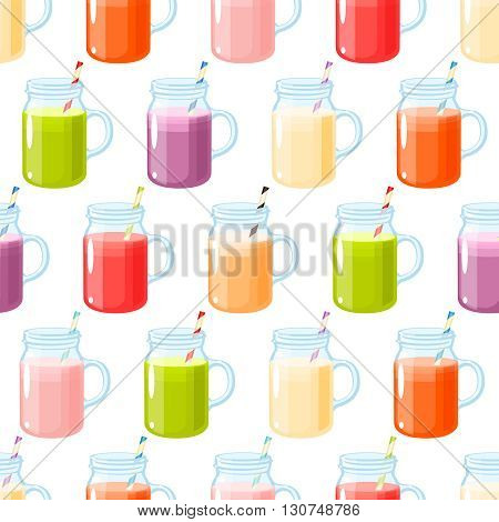 Smoothies variety seamless pattern, seamless background with smoothies, colorful and bright. Vector illustration, isolated on white.