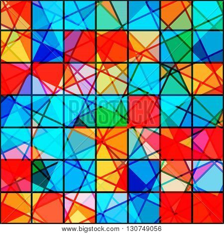 vector seamless pattern in mosaic style. Bright colored background for printing fabric or web site. Stained mosaic geometric pattern.