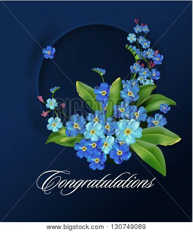 Floral wreath with spring flowers. Forget me not circular frame. Vector illustration. Blue flowers on dark background. Spring flowers. Greeting card or wedding invitation template.