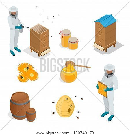Apiary set art. Apiary set honey beekeeping honeycomb beeswax apiary bee, honey jar, little bee.