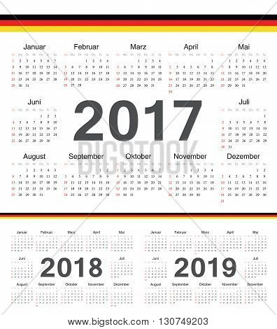 Vector German Circle Calendars 2017, 2018, 2019