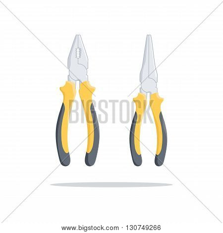 Pliers with yellow handle. Nippers. Hand tool. Worker equipment. Repair tools. Vector illustration.