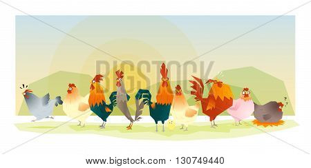 Animal background with chickens family, vector, illustration