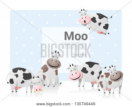 Animal background with cows family ,vector, illustration