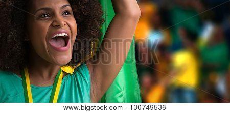Brazilian woman celebrating in the stadium