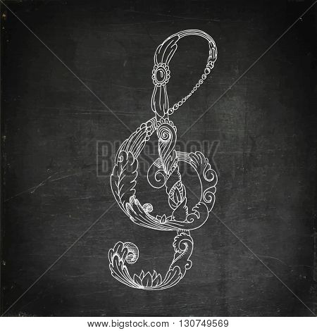 Treble clef. Chalk board drawing. Hand drawn vector stock illustration