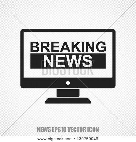 The universal vector icon on the news theme: Black Breaking News On Screen. Modern flat design. For mobile and web design. EPS 10.