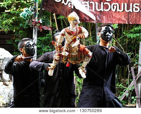 BANGKOK THAILAND - May 15 : Traditional Thai Khon puppet spectacle at Klong Bang Luang on May 15 2016 in Bangkok Thailand