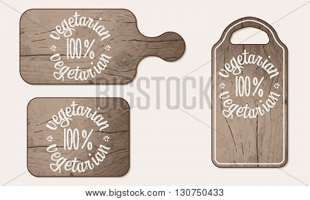 Vector wooden breadboard and inscription vegetarian product
